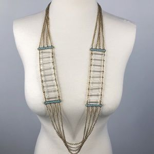 Clear Bead/ Turquoise Statement Necklace